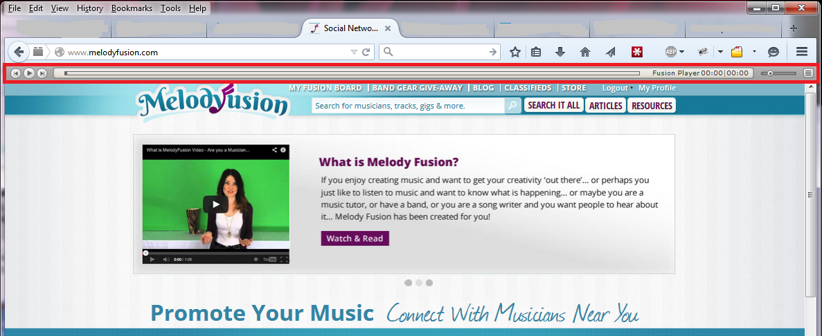 Playlist Player on Melody Fusion